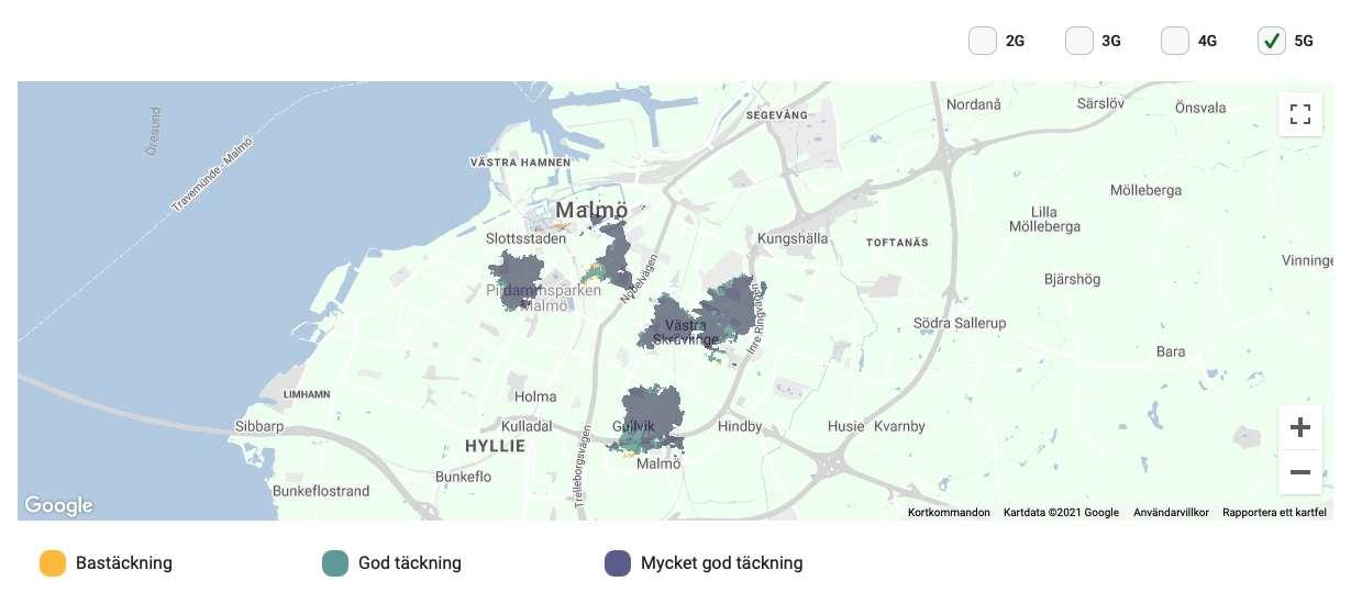 5G täckning för Comviq i Malmö